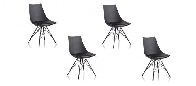 Lot de 4 chaises design noires - Eiffel