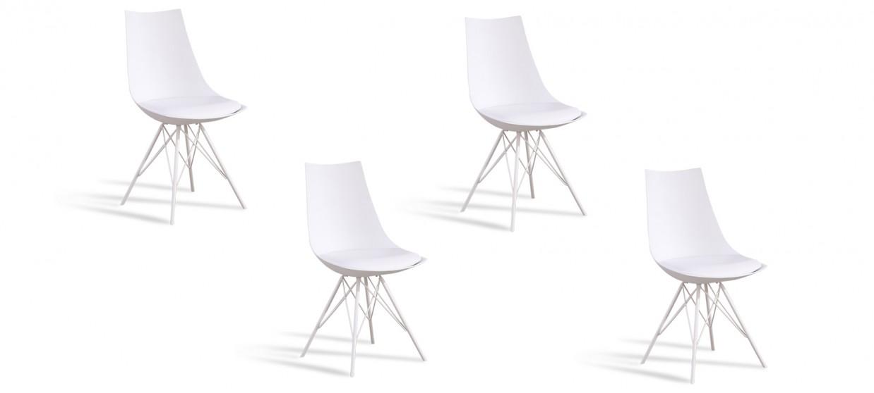 Lot de 4 chaises design blanches - Eif