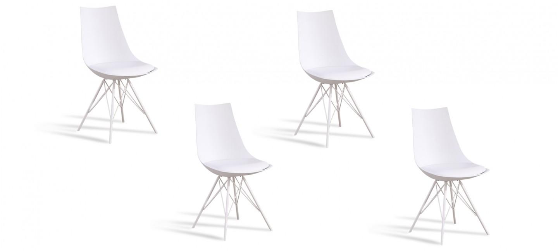 Lot De 4 Chaises Design Blanches