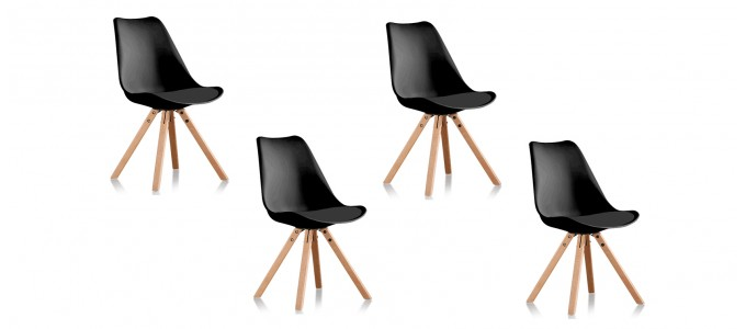 Lot de 4 chaises scandinaves noires- Helsinki