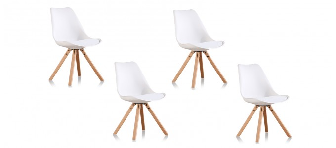 Lot de 4 chaises scandinaves blanches - Helsinki