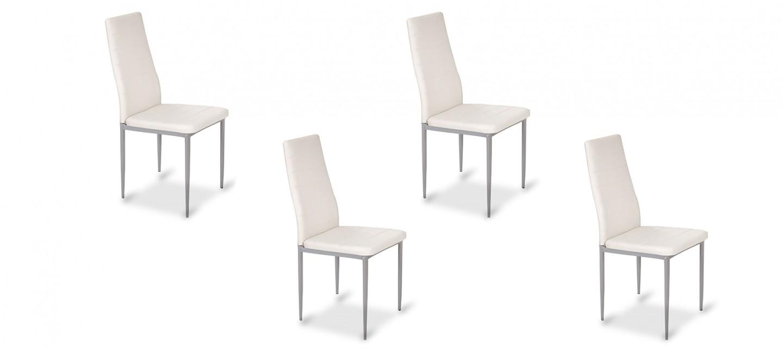 Lot de 4 chaises de salle manger blanches lena - Lot 4 chaises blanches ...