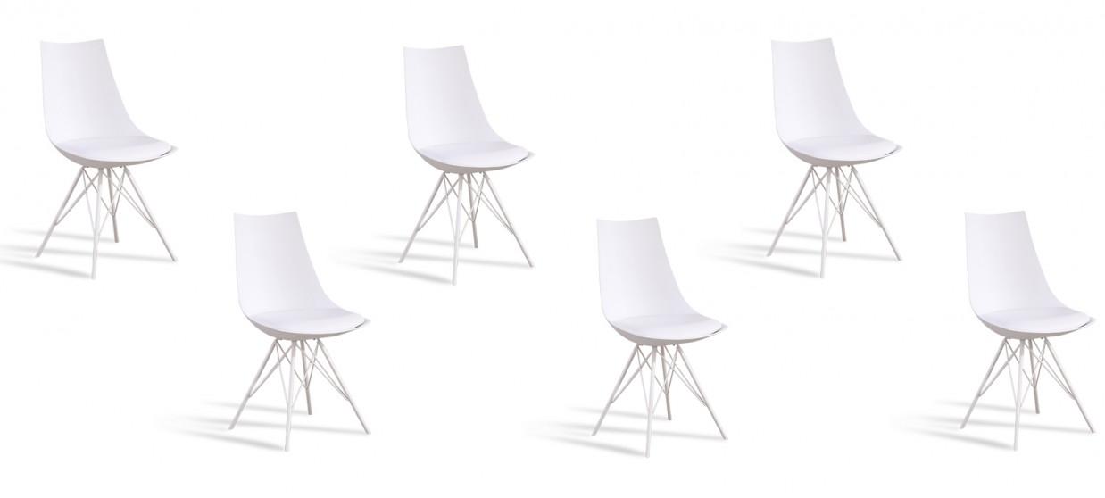 Lot de 6 chaises discount blanches - Eiffel