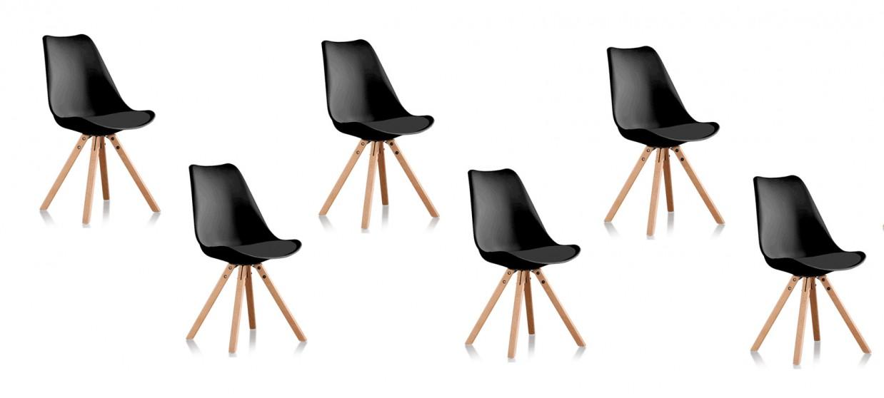 lot 6 chaises de cuisine noires. Black Bedroom Furniture Sets. Home Design Ideas