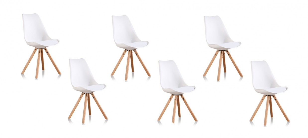 Lot De 6 Chaises Scandinaves Blanches