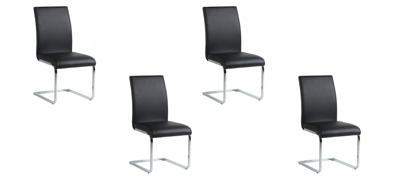 Lot de 4 chaises de salle manger ottawa prix fou - Lot de 4 chaises noires ...