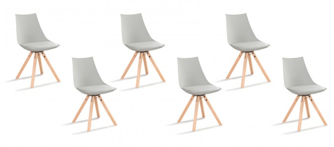 Lot de 6 chaises scandinaves grises - Minsk