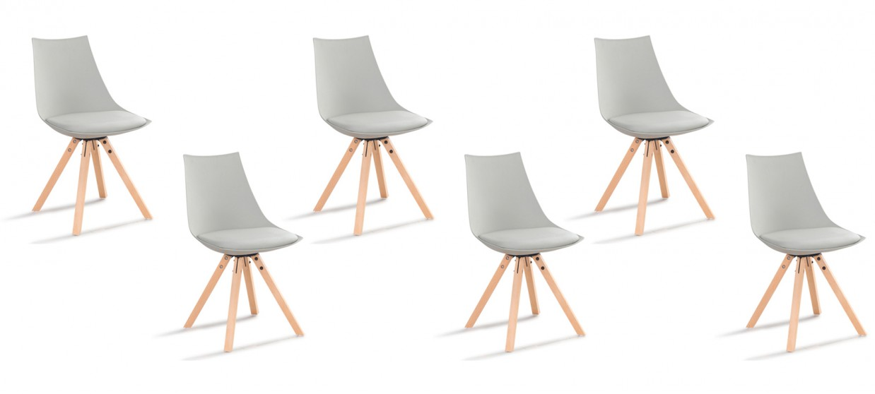 lot de 6 chaises scandinaves grises minsk - Chaises Scandinaves Grises
