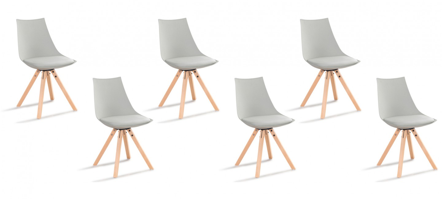 Lot chaises grises scandinave garantie satisfaction 60 jours - Lot de 6 chaises grises ...