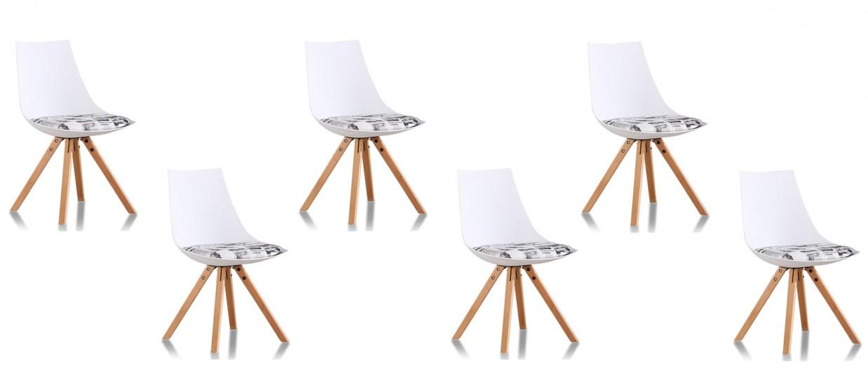 Lot de 6 chaises scandinaves journal - Minsk