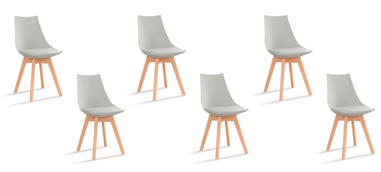 lot de 6 chaises scandinaves grises prague. Black Bedroom Furniture Sets. Home Design Ideas