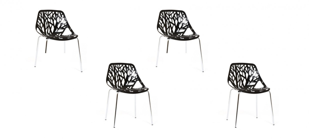 Lot de 4 chaises design noires- Lily