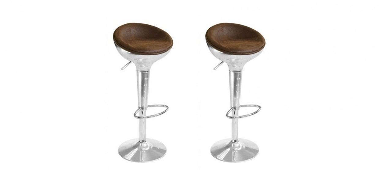 Lot de 2 tabourets de bar design vintage - Aviator