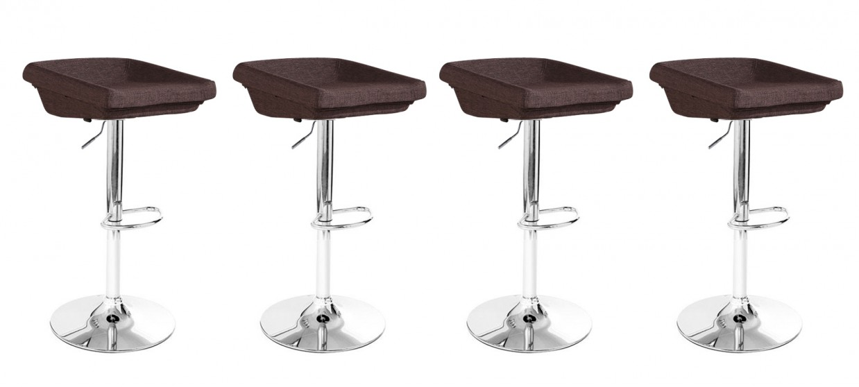 Lot de 4 tabourets de bar en tissu marron - Udine