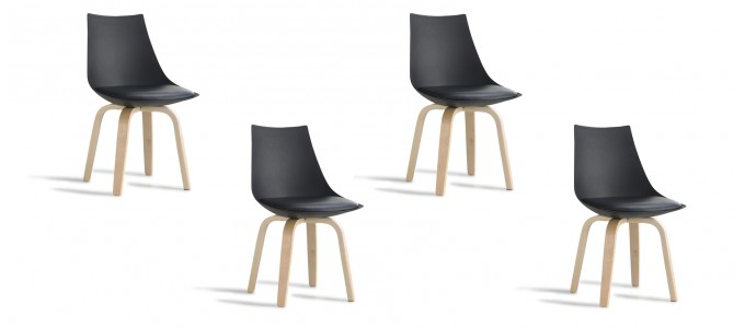 Lot de 4 chaises design noires - Nicosie