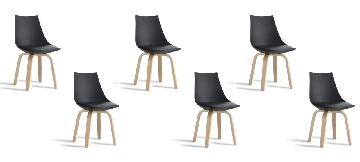 lot de 6 chaises scandinaves noires nicosie
