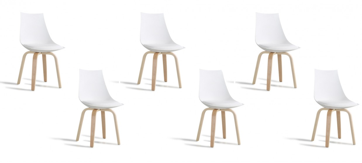 Lot de 6 chaises scandinaves blanches - Nicosie