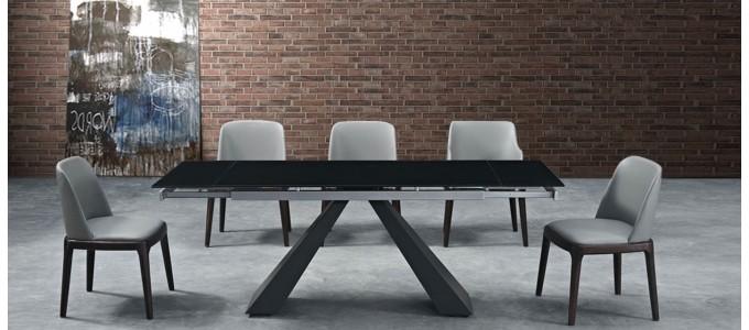 Table à manger noire extensible - Serina
