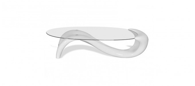 Table basse design ronde blanche - Wave