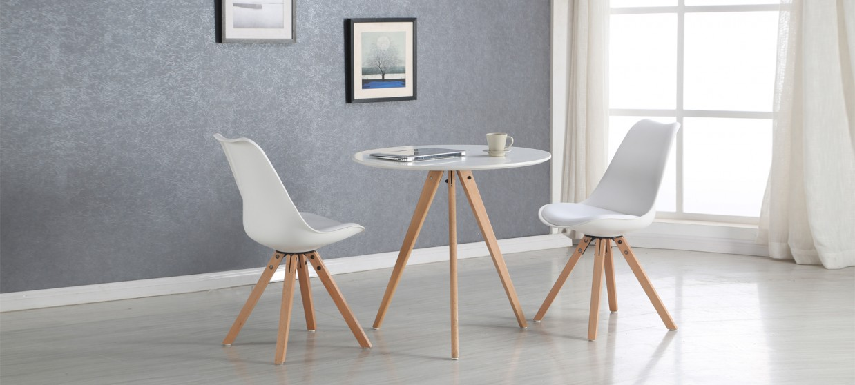 Table ronde blanche plateau 80 cm for Table a manger blanche design