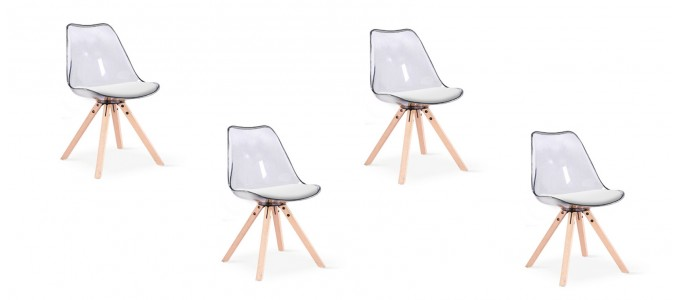 Lot de 4 chaises transparentes polycarbonate - Helsinki