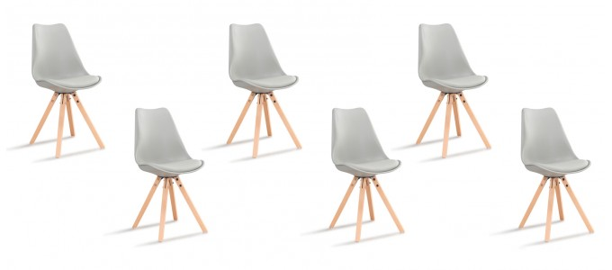 Lot de 6 chaises scandinaves grises - Helsinki