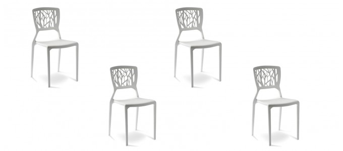 Lot de 4 chaises design blanches - Verdi