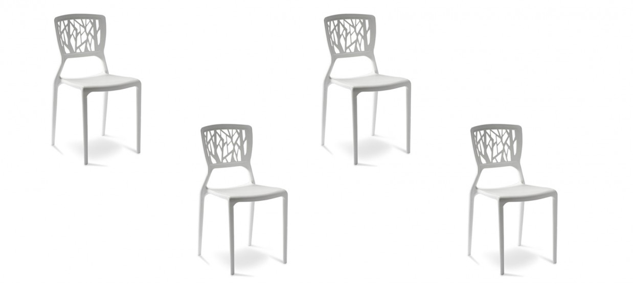 Lot de 4 chaises design blanches - Verdi