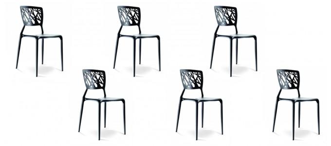 Lot de 6 chaises discount noires - Verdi