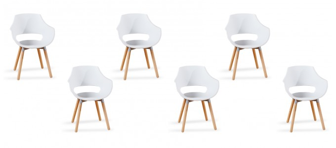 Lot 6 fauteuils scandinaves blancs - Treia