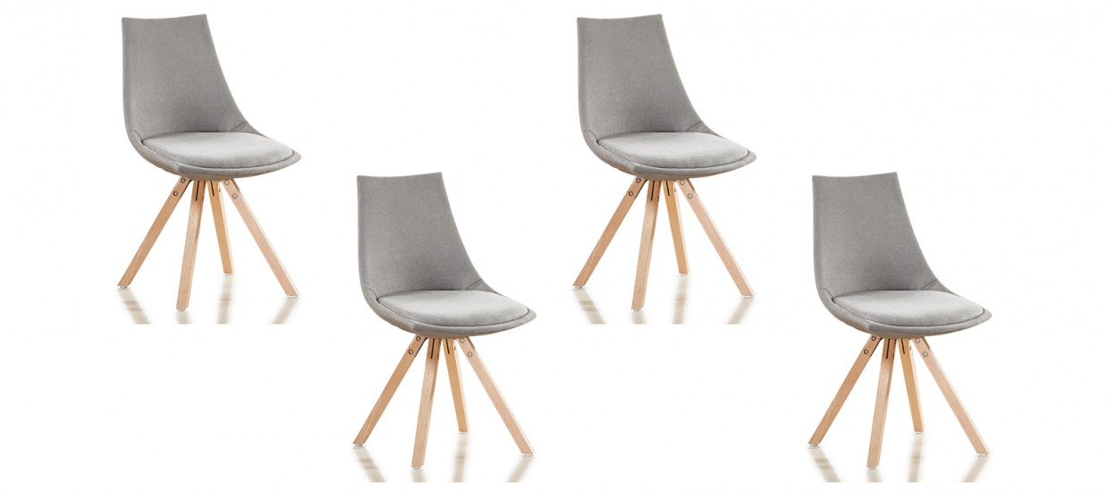 Lot de 4 chaises scandinaves tissu gris - Minsk