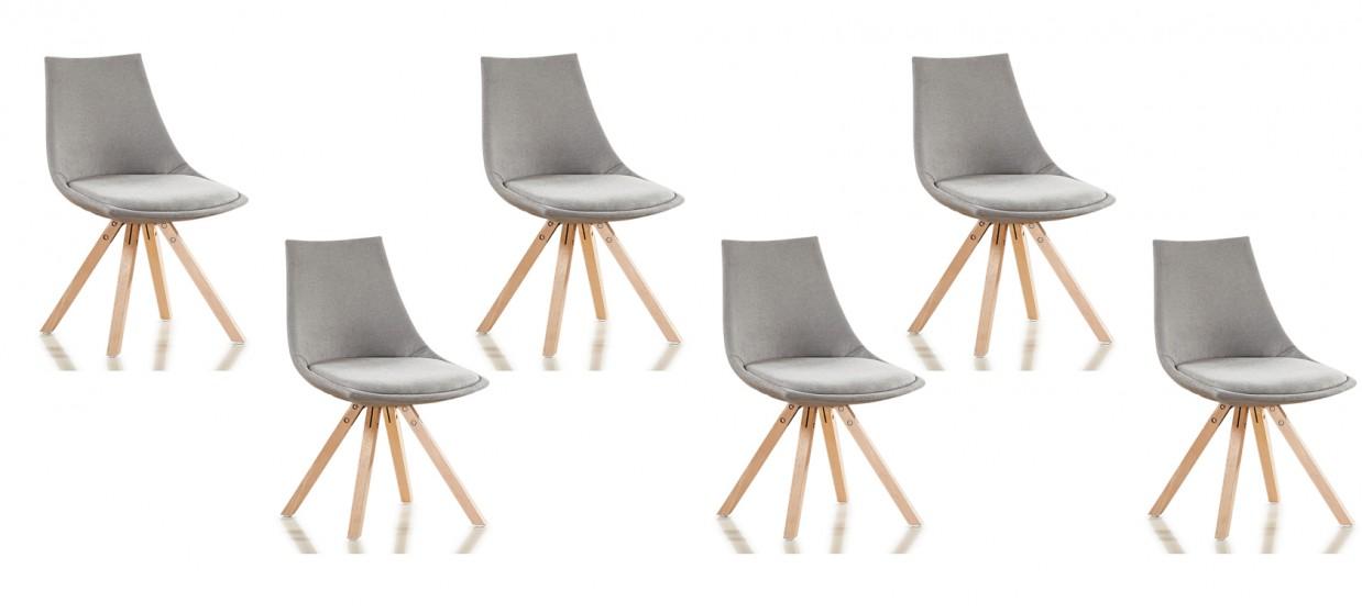 Lot de 6 chaises scandinaves tissu gris - Minsk