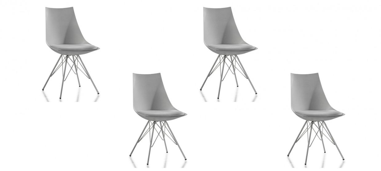 Lot de 4 chaises design grises - Eif