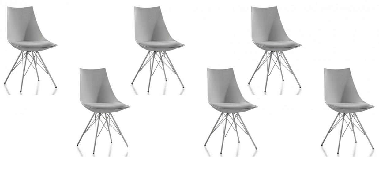 Lot de 6 chaises discount grises - Eiffel