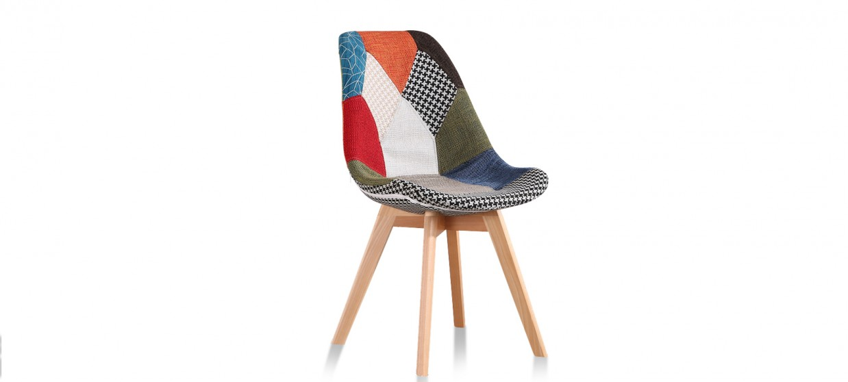 chaise patchwork pieds bois. Black Bedroom Furniture Sets. Home Design Ideas
