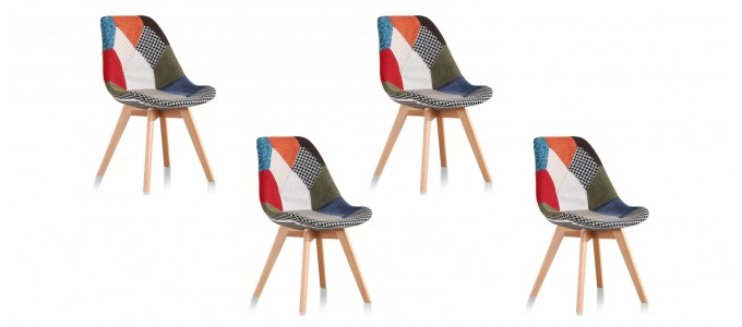 Lot de 4 chaises scandinaves patchwork - Prague