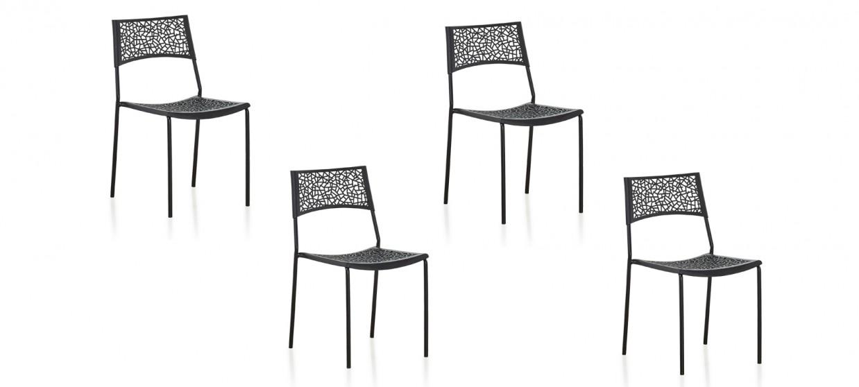 Lot de 4 chaises extérieur noires - Berlin