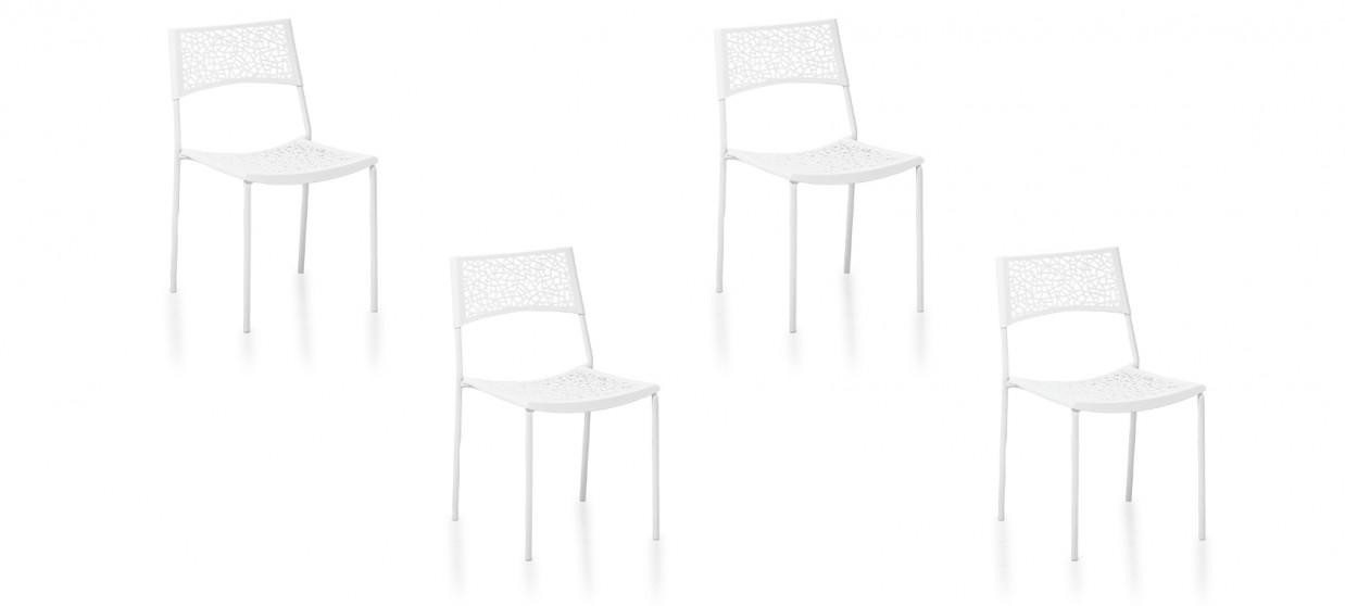 Lot de 4 chaises extérieur blanches - Berlin
