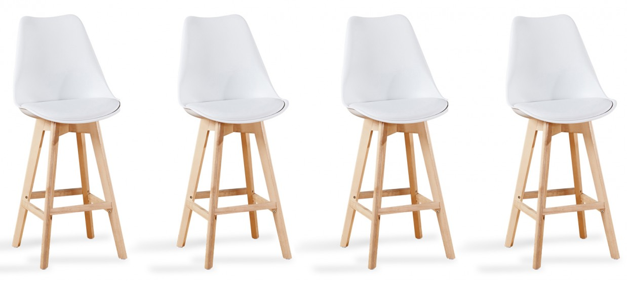 Lot de 4 tabourets de bar scandinave blancs - Gotteborg