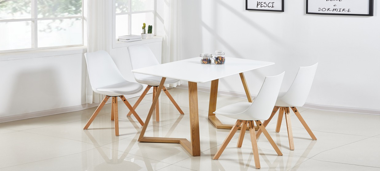Table à manger scandinave blanche 120cm - Trevi