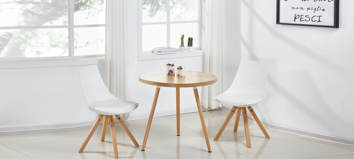 Table à manger scandinave ronde chêne 80cm - Laquila