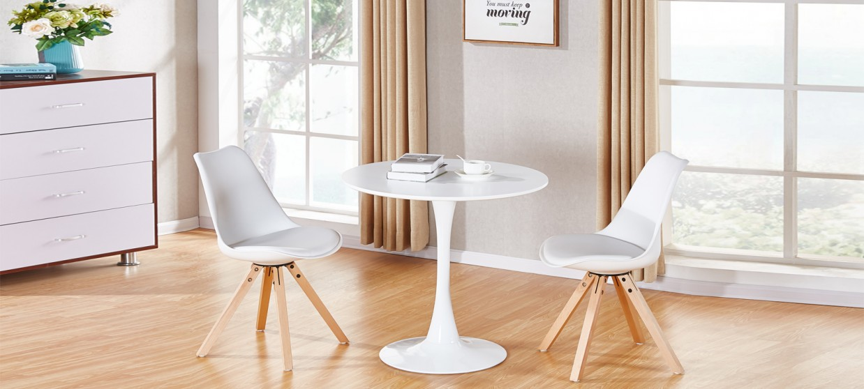 Table à manger design ronde blanche 80cm - Abrezzo