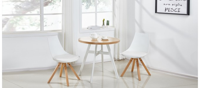 Table à manger scandinave ronde chêne 80cm - Puglia