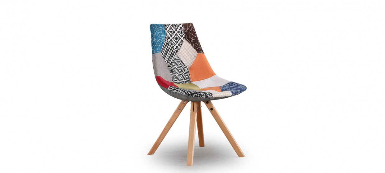 chaise rembour e avec un tissu style patchwork look design modernes. Black Bedroom Furniture Sets. Home Design Ideas