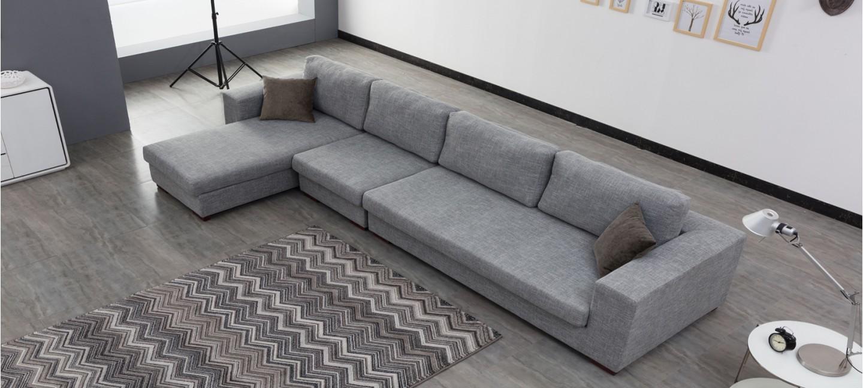 ... Ensemble canapé d angle gauche et fauteuil en tissu gris - Opéra ... a5b8b687d477