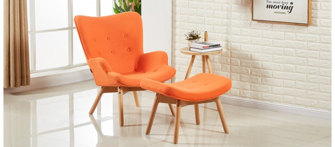 Fauteuil scandinave orange en velours - Stockholm