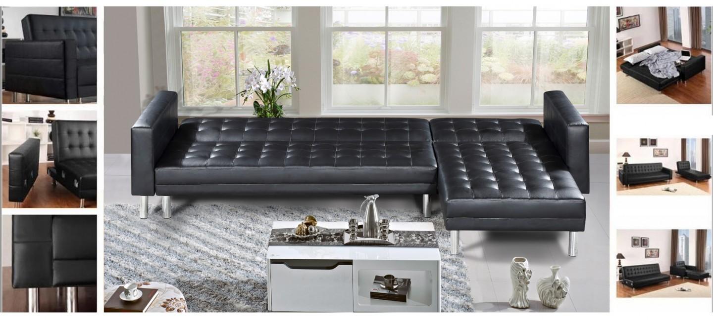canap angle reversible convertible 5 places noir prix cass. Black Bedroom Furniture Sets. Home Design Ideas