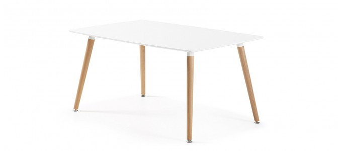 Table à manger rectangulaire design blanche 100cm - Brevik