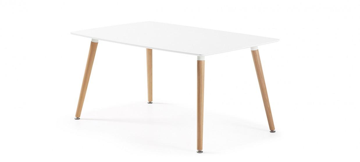 Table à manger rectangulaire design blanche 100cm - Brevik