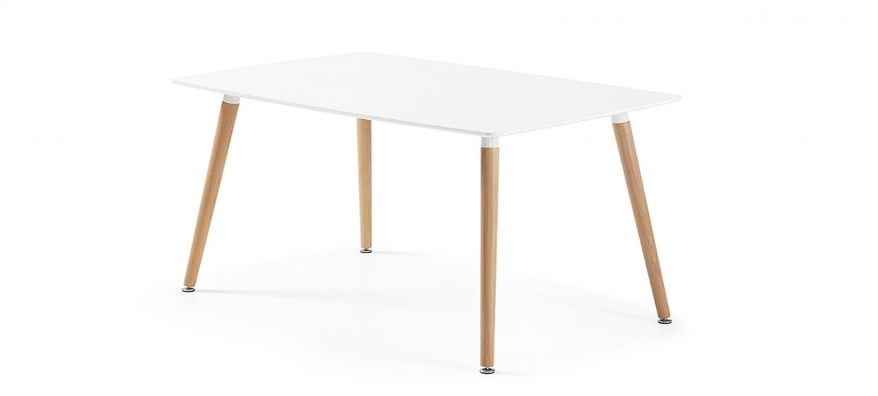 Table à manger rectangulaire design blanche 140cm - Brevik